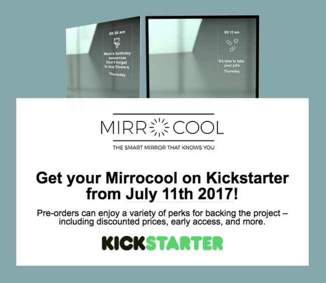 Mark your Calendar: July 11, 2017, MirroCool, the Only Smart Mirror with Facial Gestures Recognition Coming to Kickstarter